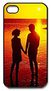 iPhone 4 4s Case, iPhone 4 4s Cases - Couple Silhouette On The Beach PC Polycarbonate Hard Case Back Cover for iPhone 4 4s¨CBlack