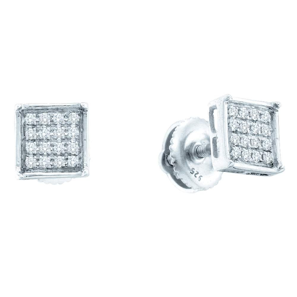 10kt White gold Womens Round Diamond Square Cluster Earrings 1 4 Cttw