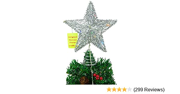 Christmas Concepts Springy Star with LED Lights Silver White Lights Christmas Tree Top Star//Christmas Decoration Christmas Concepts®