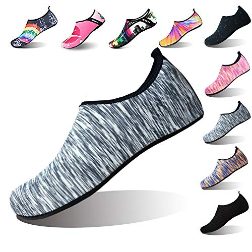 Summer Outdoor On-Slip Rubber Sole Water Shoes Barefoot Aqua Socks Beach Swim Surf Yoga Shoes Men Women Kids (L(W:9.5-10.5,M:8.5-9), Black Strips) ()
