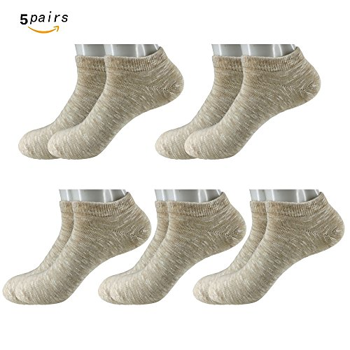5 Pair Premium Cotton Leisure Socks Low Show Socks And The Casual Short Socks (Khaki) (Socks Woven Kids)