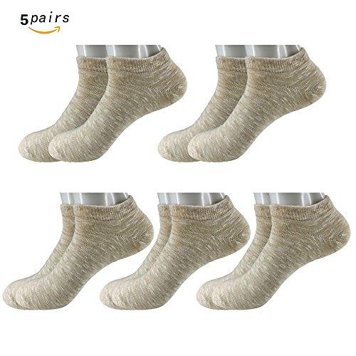 5 Pair Premium Cotton Leisure Socks Low Show Socks And The Casual Short Socks (Khaki) (Woven Socks Kids)