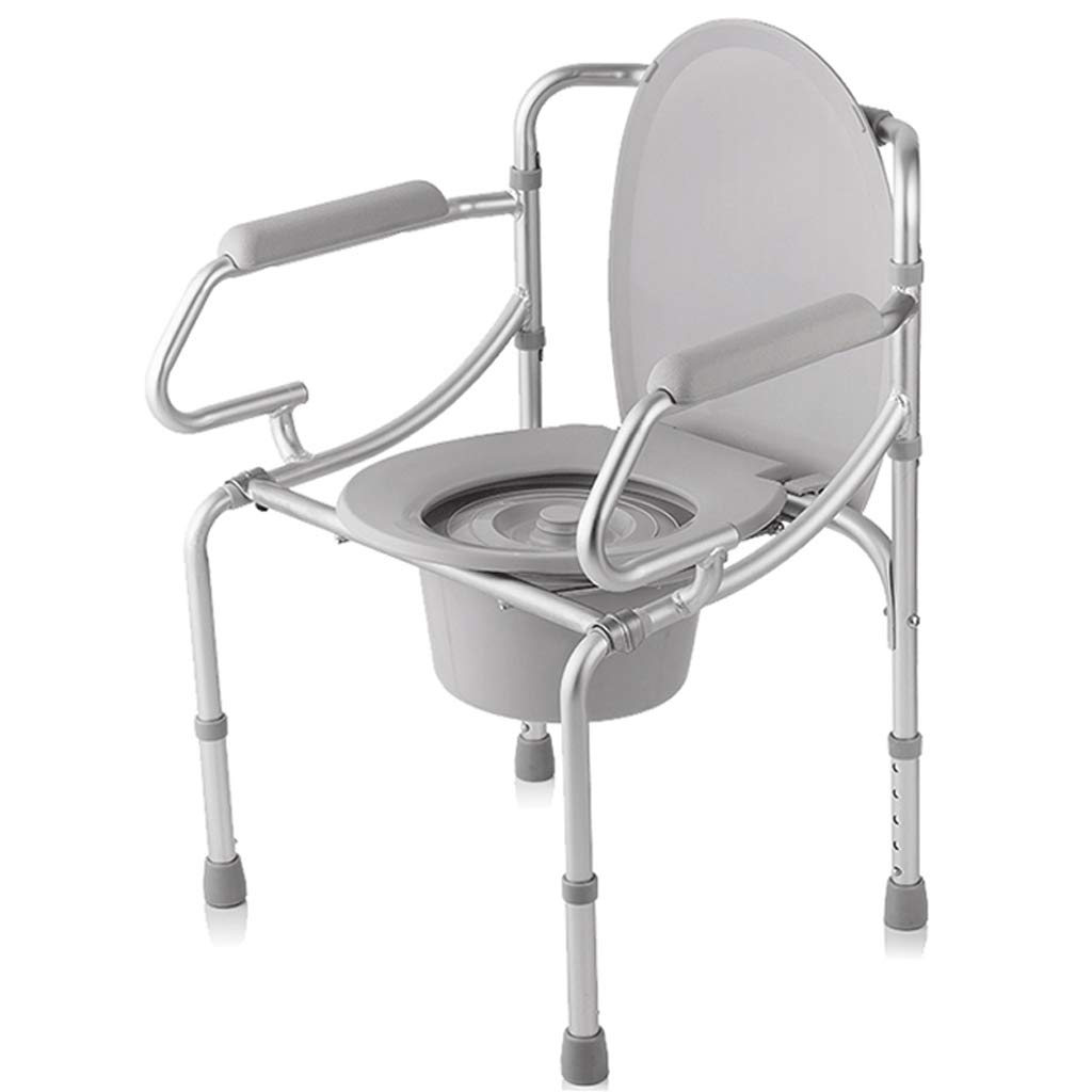 G-LXYZBQSHYP Comfortable Elderly Commode Chair Aluminum Toilet Chair Bath Chair Mobile Toilet Foldable by G-LXYZBQSHYP