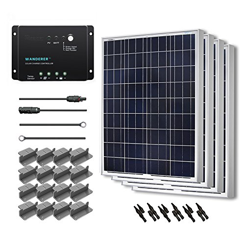 (Renogy 400 Watt 12 Volt Polycrystalline Solar Starter Kit with Wanderer 30A PWM Charge Controller /Mounting Z Brackets/Adaptor Cables/Tray Cable)