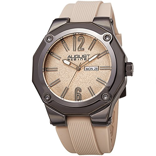 August Steiner Men's Quartz Stainless Steel and Leather Casual Watch, Color:Beige (Model: AS8232BG)