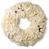 National Tree 15 Inch White Floral Wreath with Roses and Hydrangeas (RAV-WL136173-1)