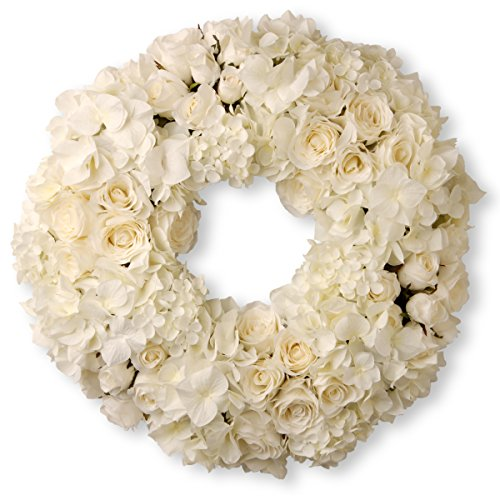 White Artificial Wreath - National Tree 15 Inch White Floral Wreath with Roses and Hydrangeas (RAV-WL136173-1)