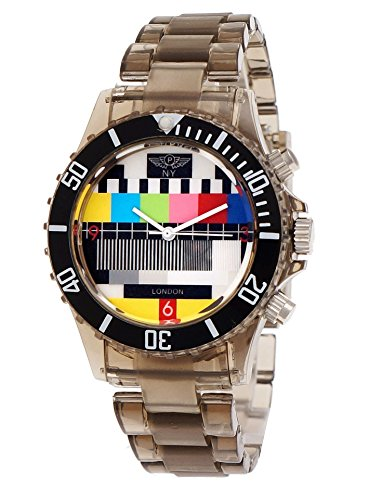 NY London Retro Classic Unisex Testpage Closedown TV Screen Test Pattern Women Men Plastic Bracelet Watch Ladies Watch Mens Watch Wristwatch Black Transparent including Watch Box and Bracelet Shorter (Transparent Watch Plastic)