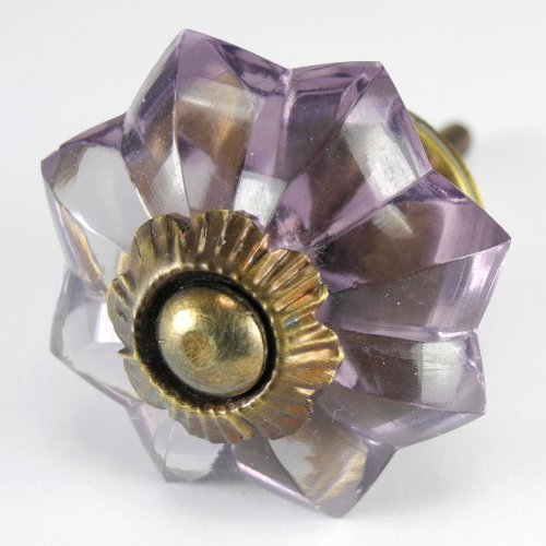 Glass Door Knob Amethyst (Ornate Vanity Cabinet Glass Knobs Dresser Pulls Drawer Handles 2 Pack K299VM Amethyst Glass Melon Knobs with Antique Brass Hardware. Romantic Decor & More)