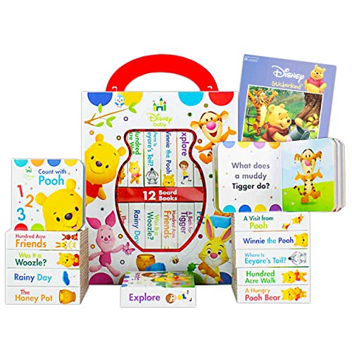 Disney Baby Winnie The Pooh Board Books Set Toddlers Babies Bundle ~ Pack of 12 Chunky My First Library Board Book Block…