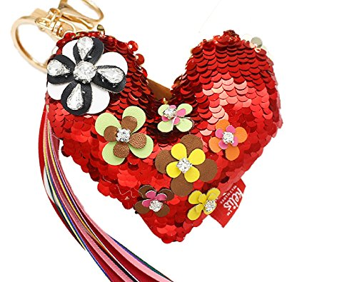 QMermaid Reversible Sequins Mermaid Keychain Bag Purse Charm Gold Ring with Color Tassel (Red-Sliver)