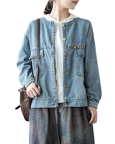 Gihuo Women's Collarless Loose Embroidered Denim Jacket Outerwear Jean Coat (Blue, One Size)