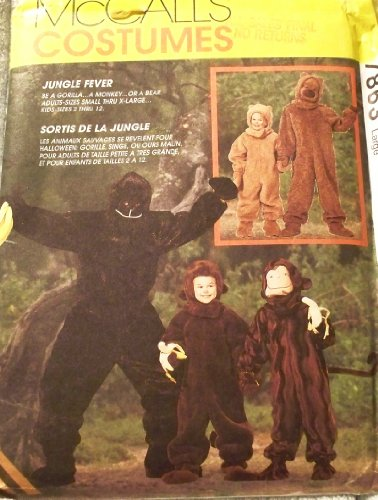 [OOP McCall's Costume Pattern 7863. Mens/adult Sz Large Gorilla, Monkey, or Bear Costumes. Chest: 38-40
