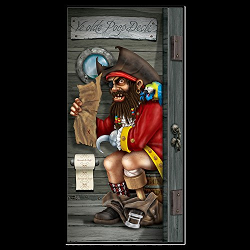 Funny PIRATE CAPTAIN in POOP DECK Bathroom Door Cover Birthday Party Decoration from HORROR-HALL
