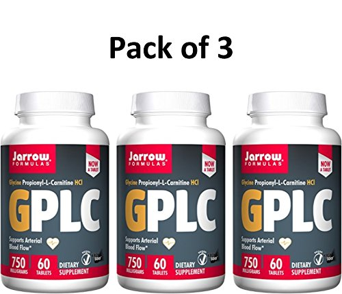 Jarrow Formulas GPLC, Supports Arterial Blood Flow, 750 mg, 60 Tabs (Pack of 3)