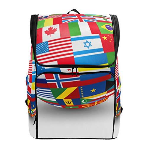 - YCHY Backpack World Flags Sphere Vector Illustration Lightweight Travel Bag Hiking Knapsack College Student School Bookbag Travel Daypack for men women