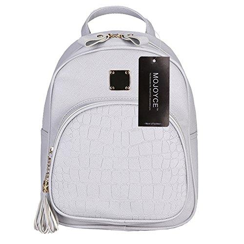 Bag Gray Embossed Backpacks Shoulder Fashion Prosperveil Backpack Leather Women Pu Small xvqwPP5RYz