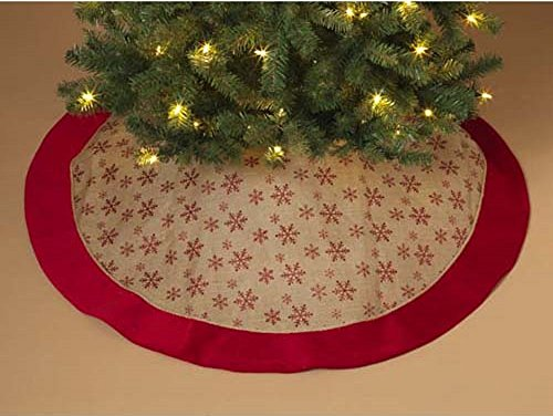 red glitter snowflake burlap christmas tree skirt 48 inch diameter decoration - Gold Christmas Tree Skirt
