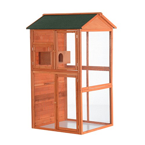 "PawHut 71"" Extra Large Wooden Outdoor Aviary Flight Bird Cag"