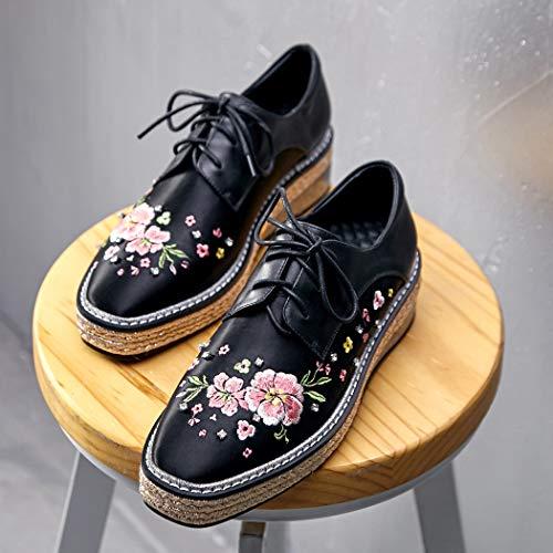 Zapatos Negro Casual Wedge Tacon Mujer Elegantes Plataformas Oxford Cordones De Annieshoe Cuña SPdxqS