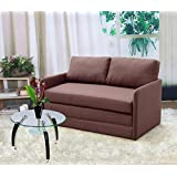 US Pride Furniture Kathy Reversible 5.1 Foam Fabric Loveseat and Sofa Bed Couch Sleeper, Brown