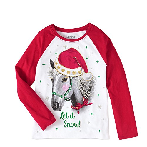 Girls Christmas Shirts, Long Sleeve Holiday Graphic Tshirts with Glitter Accents (Glitter Horse, XS 4/5) -
