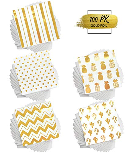 100 Gold Foil Cocktail Napkins   5 Assorted Designs Folded 5 x 5 Inches Disposable Party Napkins Beverage Napkins   Bulk White Paper Napkins Are Perfect for Dinner, Wedding, Baby Shower, Bridal Shower