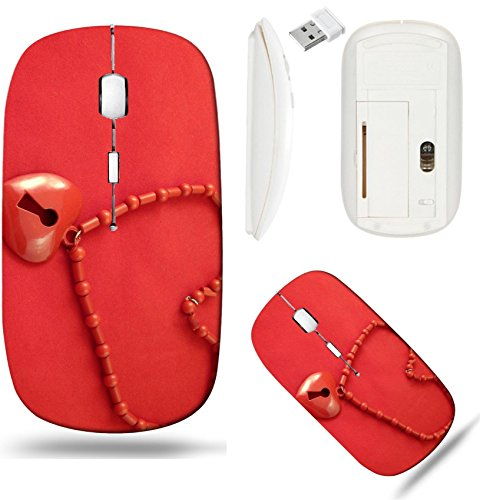 Liili Wireless Mouse White Base Travel 2.4G Wireless Mice with USB Receiver, Click with 1000 DPI for notebook, pc, laptop, computer, mac book IMAGE ID: 4560608 Red beads with pendant in the form of he