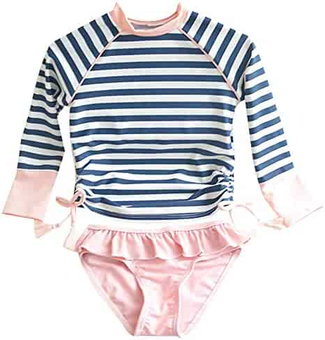643d39393 Kids Swimsuits Girl's Two-Piece Long Sleeve Sun Protection Swimsuits Stripe Bathing  Suit UPF50+ Rash