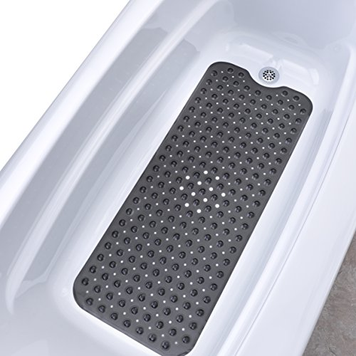 "SlipX Solutions Translucent Black Extra Long Bath Mat Adds Non-Slip Traction to Tubs & Showers - 30% Longer than Standard Mats! (200 Suction Cups, 39"" Long - Extended Coverage, Machine Washable)"