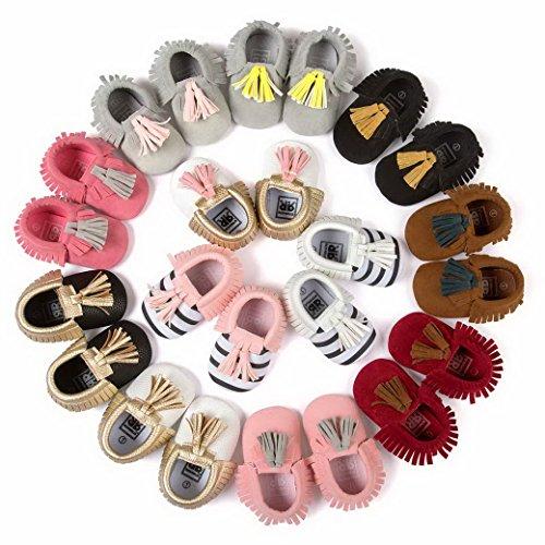 Happy Cherry Zapatos con Borlas Mocasines de PU Piel Suaves Zapatitos Primeros Pasos Calzado Infantil para 3-18 Meses Bebés Niñas Niños Baby Shoes Rosa Esmerilado*Gris