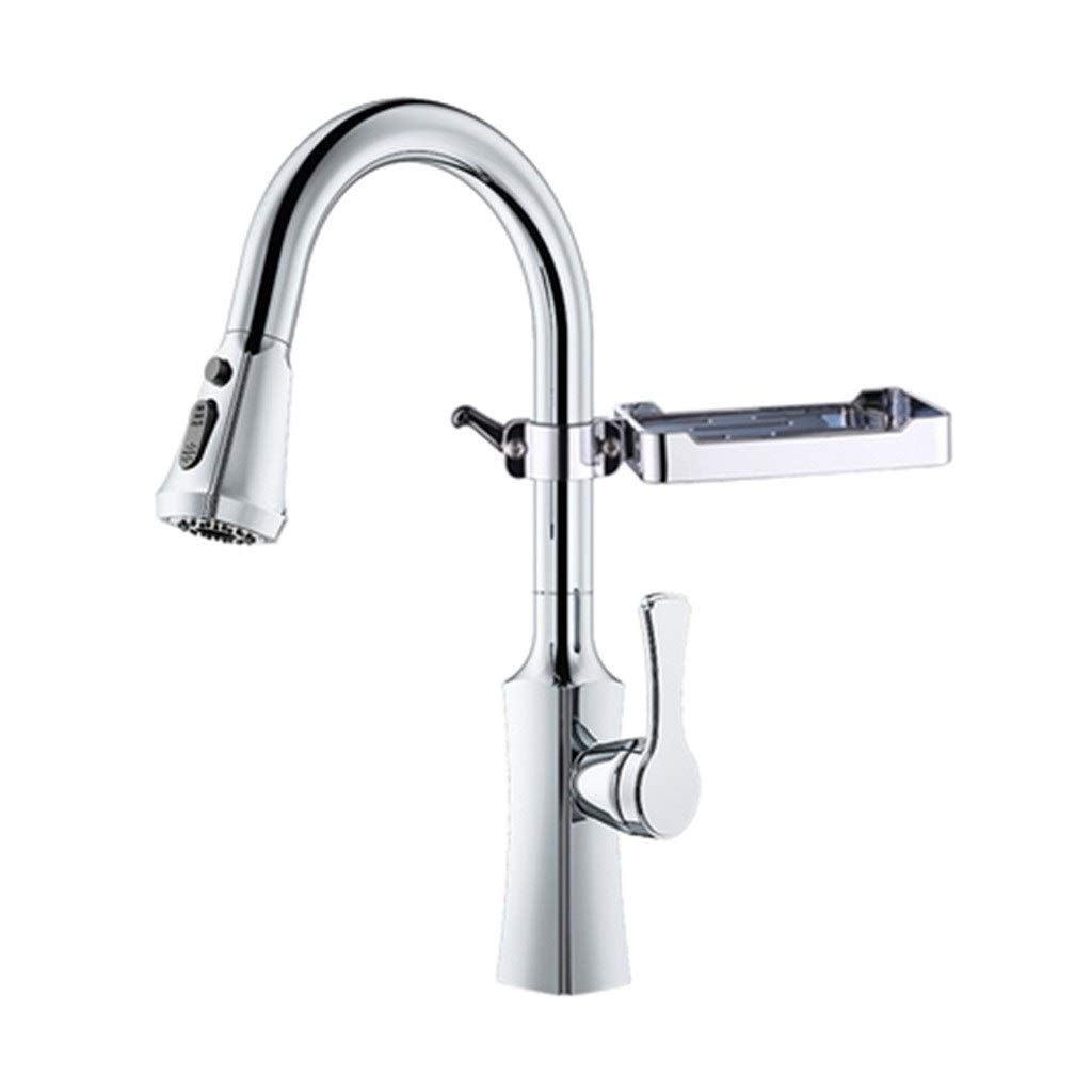 Kitchen Sink Faucets Faucet Kitchen Pull-out Black Faucet Retro Black Matte Matte Black Sink Hot And Cold Dishwasher Faucet (Color : Silver, Size : 46.523.5cm)