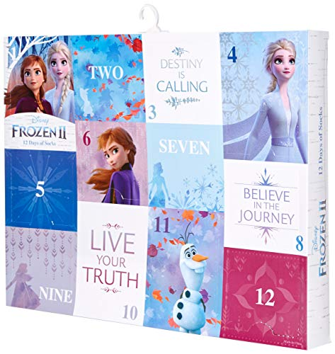 Disney Girls 12 Days Advent Box, Assorted Bright-Frozen 2, Sock Size 6-8.5, Fits Shoe Size 7.5-3.5