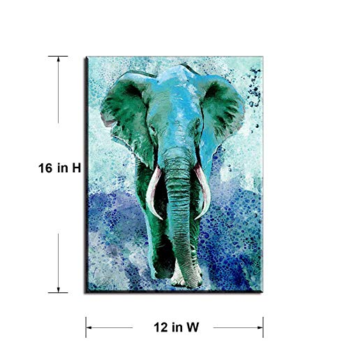 Wall Decor for Bedroom of Waterproof Elephant Decor, Wall Decor for Living Room with Turquoise Decor Paintings, Bathroom Wall Art by Original Inspirational Teal Decor, Wood Inside Framed (12x16)