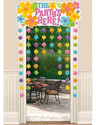 """Amscan Hibiscus Party Door Curtain with Flower Attachments, 54"""" x 38"""""""