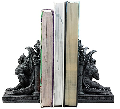 "Ebros Gothic Sculptural The Thinker Gargoyle Bookends Figurine Set 6.25""H Medieval Le Penseur Resin Sculpture"
