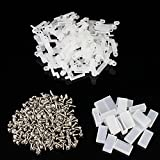 Aussel 100 Pieces 18mm PVC LED Rope Light Mounting Fixing Silicon Clips + 200 Pieces Fixing Screws + 20 Pieces End Caps for Waterproof 5050/5630 LED Strip Light Wide Including 3 Pins Strip, 4 Pins Strip