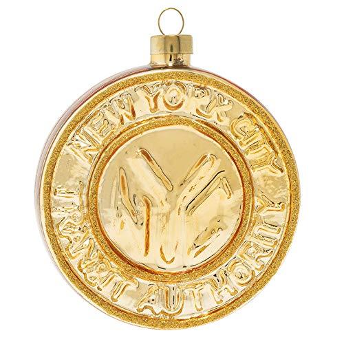 kat + annie Subway Token Ornament, Gold