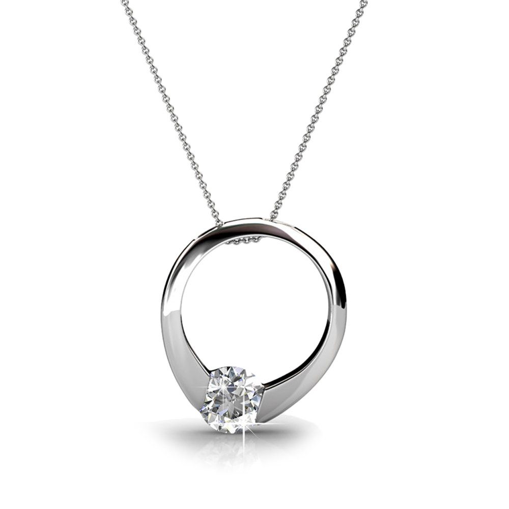 Cate & Chloe Dahlia 18k White Gold Plated Pendant Necklace with Swarovski Crystals, Silver Round Cut Solitaire Diamond Ring Necklace for Women, Anniversary Necklace - Hypoallergenic