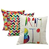 Monkeysell 3PCS Retro Asymmetric Triangles Geometric Linen modern style Square Decorative Fashion Square Pillow Cover -18 X 18 Inch