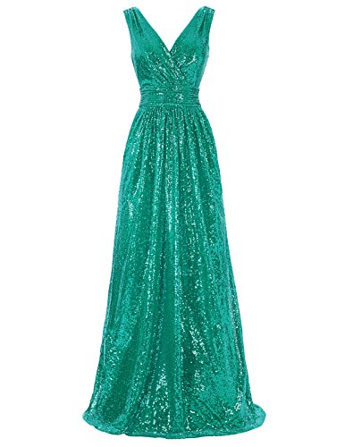 Kate Kasin Deep-V Formal Sequined Dress For Bridesmaid Wedding Party Green USA8 KK199-6