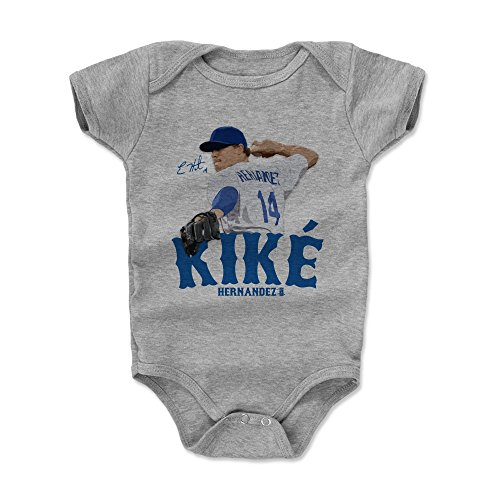 500 LEVEL Enrique Hernandez Baby Clothes, Onesie, Creeper, Bodysuit 3-6 Months Heather Gray - Los Angeles Baseball Baby Clothes - Enrique Hernandez Signature B ()
