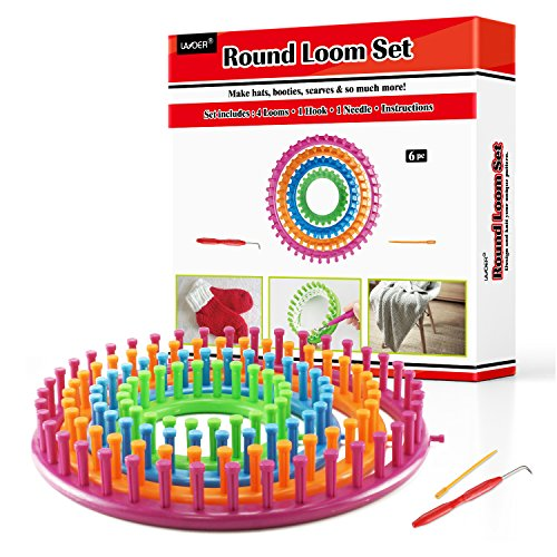 LAYOER Spool Round Knitting Loom Set with Hook Needle Kit Yarn Cord Knitter 4 LoomsRound