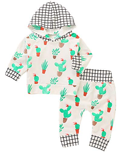 hes, Toddler Infant Girls Cactus Print Hooded Sweatshirt and Jogger Pants Set 2 Pieces Outfit, White, 0-6 Months = Tag 70 ()