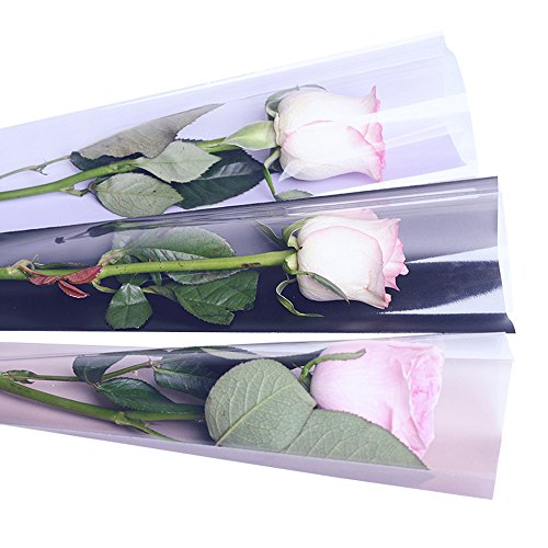 Single Rose Packaging Bags Flower Bouquet Bag, 100 Counts (White)