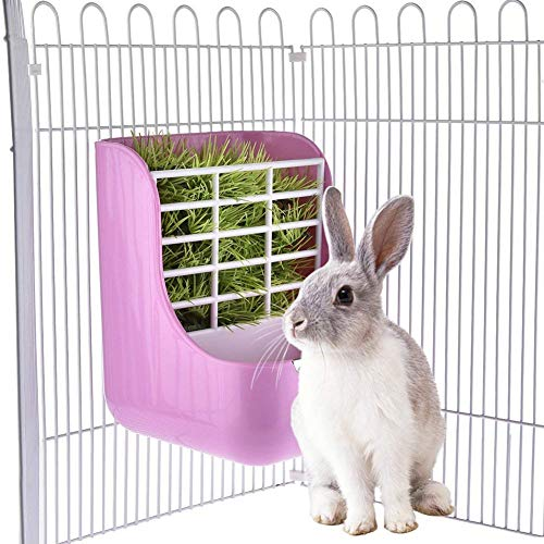 - Rabbit Feeders Hay Food Bin Feeder, Grass and Food Double Use Rabbit Feeder,Hay Feeders Supply for Rabbit Guinea Pig Chinchilla (Pink)