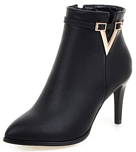 71c2ba832d1a Summerwhisper Women s Sexy Pointed Toe Strap Side Zipper Ankle Booties  Stiletto High Heel Short Boots Shoes