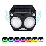 Solar Lights Outdoor Color Changing, Motion Sensor Porch Lights Dual Motion 180°Sensor Range 7 Color Changeable LED Waterproof Wireless Security Light for Wall Decor Pathway Garden Yard (1 Pack)