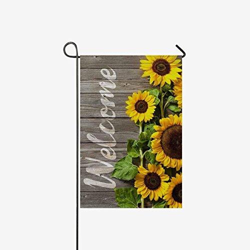 Autumn Sunflowers Wood Pattern Garden Flag House Banner, Dec