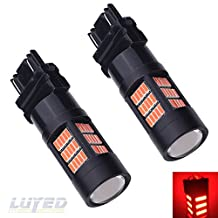 LUYED 2 X Extremely Bright 3157 4014 72-EX Chipsets 3056 3156 3057 3157 LED Bulbs Used for Back Up Reverse Lights,Brake Lights,Tail Lights,Black Metal Aluminum Dissipate Heat With Adjustable Lens,Red